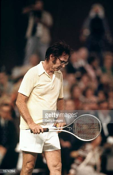 Bobby Riggs of the USA in action during a Battle of the Sexes Challenge Match against Billie JeanKing of the USA held at the Astrodome in Houston...