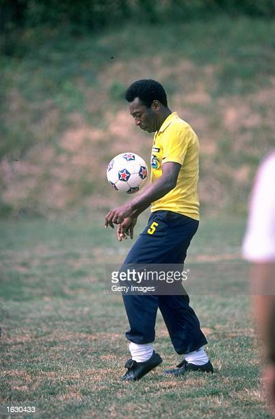 Pele of Brazil in action during a training session Mandatory Credit Allsport UK /Allsport