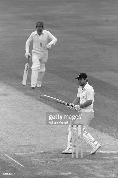 Mike Gatting of England hooks the bowl from Dennis Lillee of Australia during the sixth test at the Oval In London Mandatory Credit Adrian...