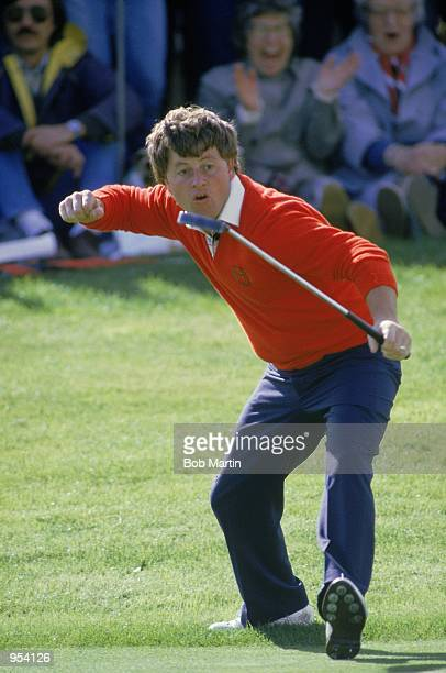 Ian Woosnam of the European team celebrates during the Final Day Singles of the Ryder Cup at the Belfry in Sutton Coldfield, England. \ Mandatory...
