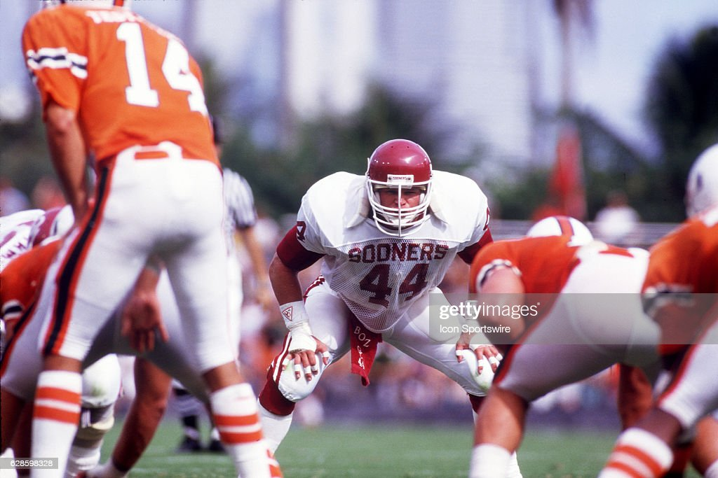 Linebacker Brian Bosworth (44) of the Oklahoma Sooners in action during the Sooners 28-16 loss to the Miami Hurricanes at the Orange Bowl in Miami, FL.