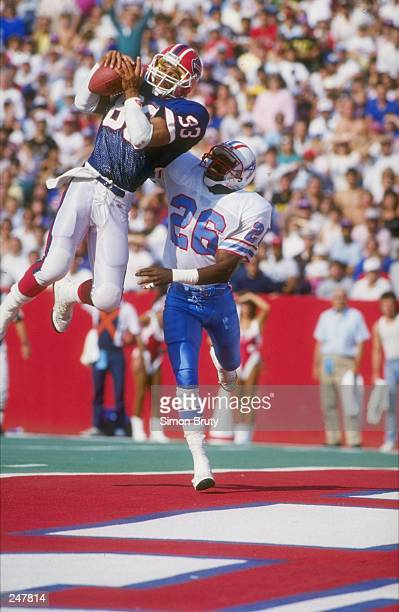 General view of the action during a game between the Houston Oilers and the Buffalo Bills at Rich Stadium in Orchard Park, New York. The Bills won...