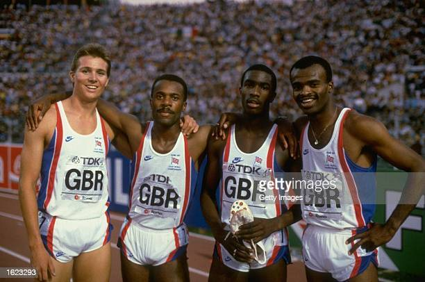 The 4x400 Metre Relay team Roger Black Phil Brown Derek Redmond and Kriss Akabusi all of Great Britain pose during the 1987 World Championships in...