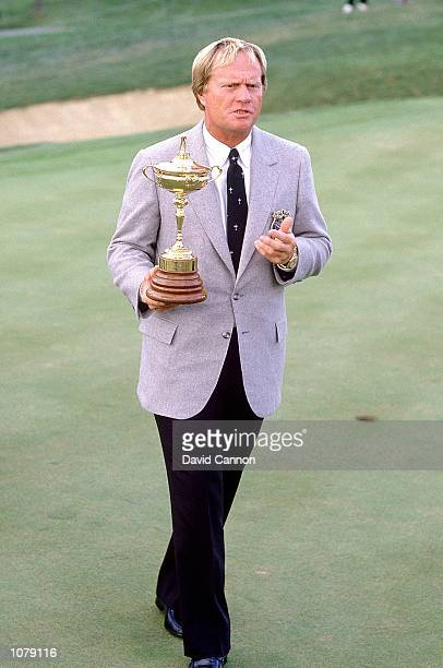USA captain Jack Nicklaus with the trophy on the eve of the Ryder Cup at Muirfield Village Columbus Ohio USA Mandatory Credit David Cannon /Allsport