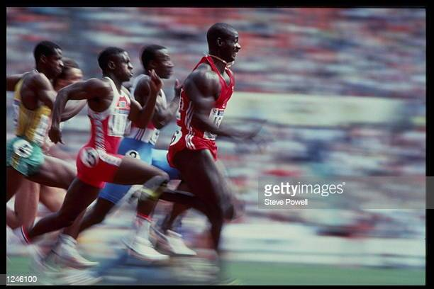 Ben Johnson of Canada leads the field on his way to taking the 100m semifinal during the 1988 Summer Olympic Games in Seoul South Korea Mandatory...