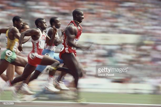 Ben Johnson of Canada takes the lead in the 100 Metres semi final at the 1988 Olympic Games in Seoul South Korea Mandatory Credit Steve...