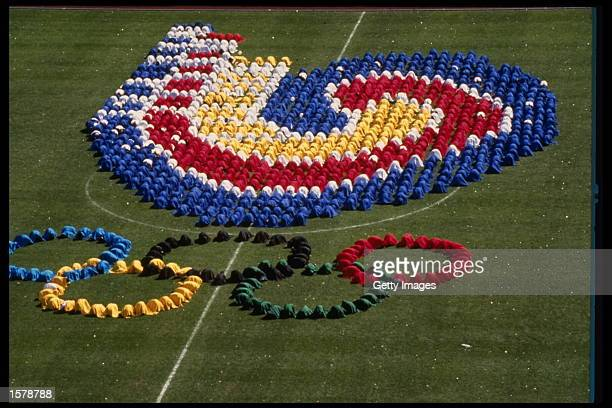 Dancers form the Olympic rings in the center of the stadium during the Opening Ceremony of the 1988 Summer Olympic Games in Seoul, South Korea....