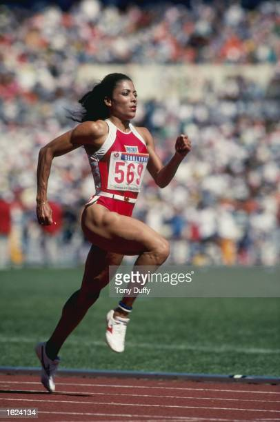 Florence GriffithJoyner of the USA in action at the 1988 Olympic Games in Seoul South Korea GriffithJoyner won gold medals in the 100 and 200 Metres...