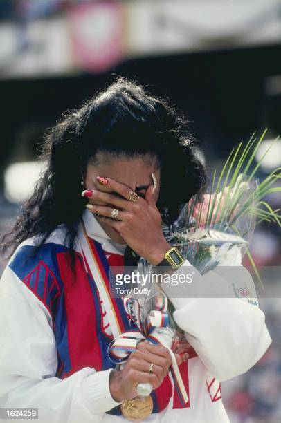 Florence GriffithJoyner of the USA overcome with emotion after receiving a gold medal at the 1988 Olympic Games in Seoul South Korea GriffithJoyner...