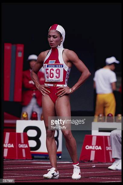 Florence GriffithJoyner of the USA prepares for the 100m during the 1988 Summer Olympics in Seoul Korea GriffithJoyner went on to win the gold medal...