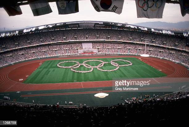 General view of the Olympic Stadium during a dress rehearsal for the Opening Ceremony of the 1988 Olympic Games in Seoul, South Korea. \ Mandatory...