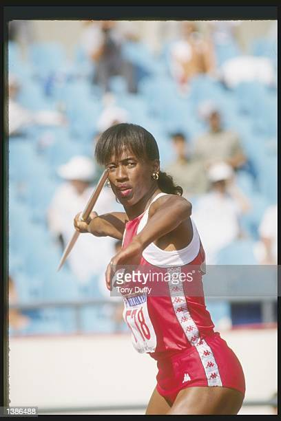 Jackie Joyner-Kersee throws the javaelin during that part of the Heptathlon at the Olympic Games in Seoul, South Korea. Kersee set a new world...