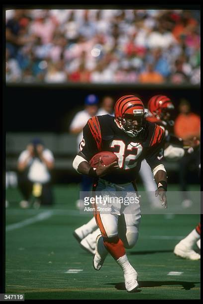 Running back Stanley Wilson of the Cincinnati Bengals moves the ball during a game against the Cleveland Browns at Riverfront Stadium in Cincinnati,...