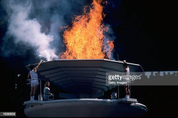 The Olympic Flame is lit during the Opening Ceremony of the 1988 Olympic Games at the Olympic Stadium in Seoul South Korea Mandatory Credit Allsport...