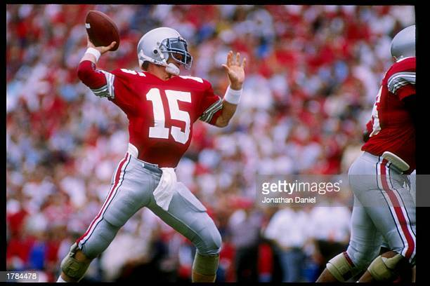 Quarterback Greg Frey of the Ohio State Buckeyes passes the ball during a game against the Oklahoma State Cowboys at Ohio Stadium in Columbus, Ohio....