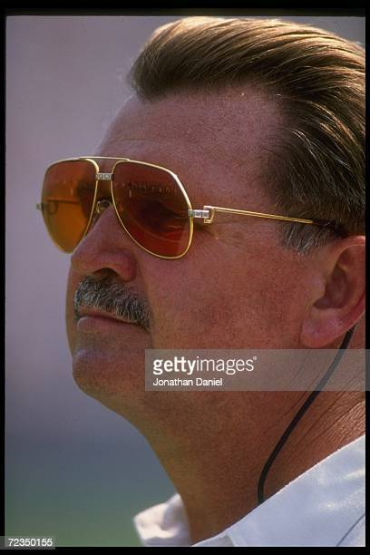 Chicago Bears head coach Mike Ditka looks on during a game against the Seattle Seahawks at Soldier Field in Chicago, Illinois. The Bears won the...