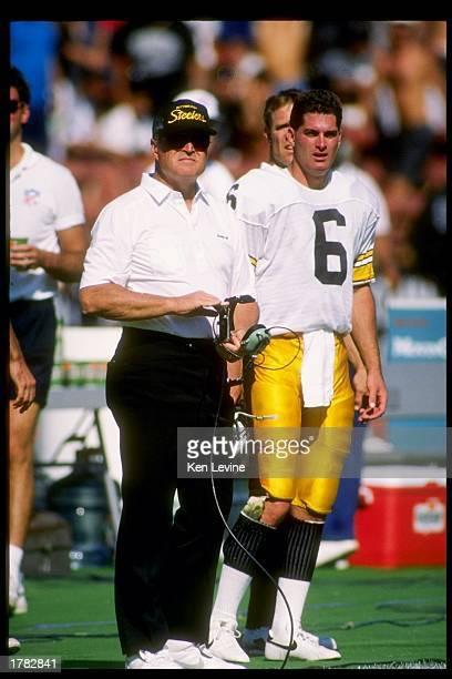 Head coach Chuck Noll of the Pittsburgh Steelers looks on from the sidelines during a game against the Los Angeles Raiders The Raiders won the game...