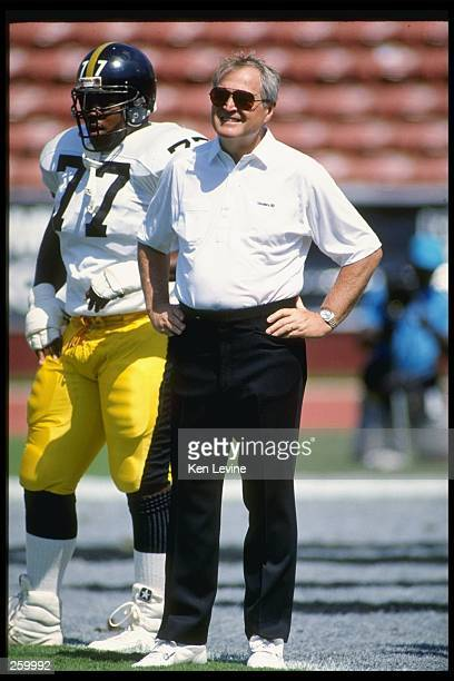 Pittsburgh Steelers head coach Chuck Noll looks on during a game against the Los Angeles Raiders at the Los Angeles Memorial Coliseum in Los Angeles...