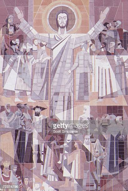 A mural called Touchdown Jesus adorns a wall overlooking the Notre Dame campus and football stadium in South Bend Indiana Mandatory Credit Scott...