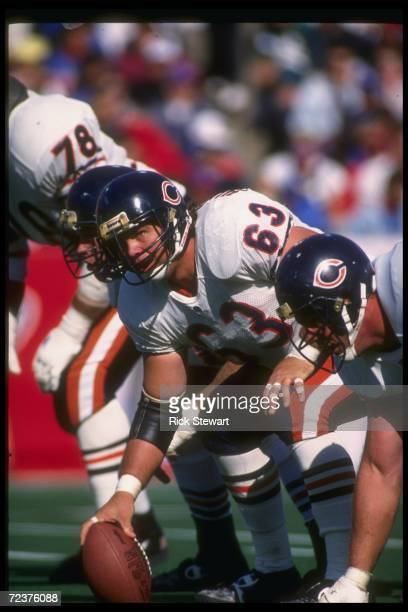 Center Jay Hilgenberg of the Chicago Bears prepares to snap the ball during a game against the Buffalo Bills at Rich Stadium in Orchard Park, New...