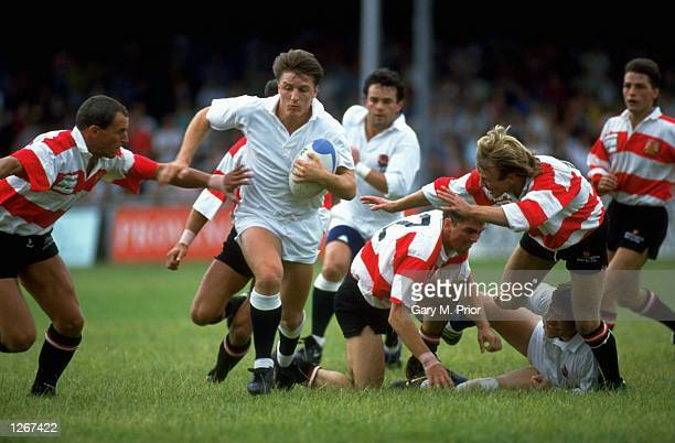 David Pears of England charges forwards with the ball during the match against Gloucester at Kingsholm in Gloucester, England. England won the match...