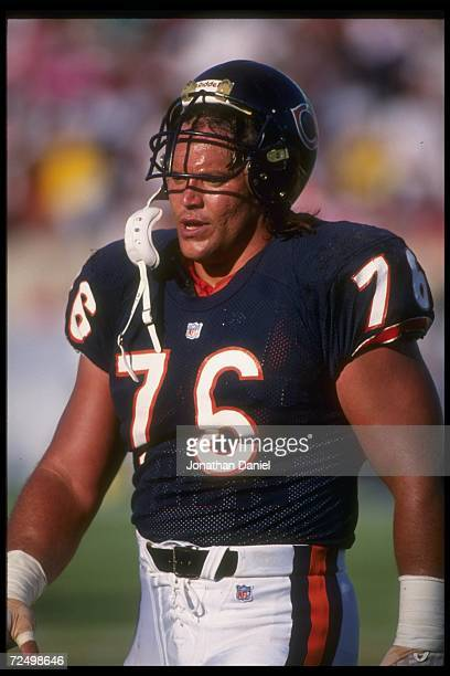 Defensive lineman Steve McMichael of the Chicago Bears looks on during a game against the Minnesota Vikings at Soldier Field in Chicago, Illinois....
