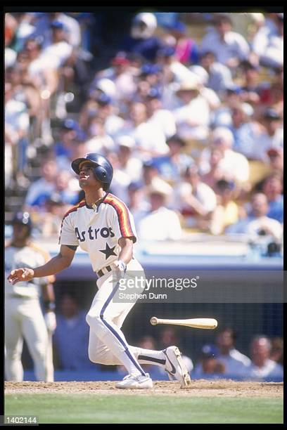 Infielder Andujar Cedeno of the Houston Astros swings at the ball during a game against the Los Angeles Dodgers at Dodger Stadium in Los Angeles...