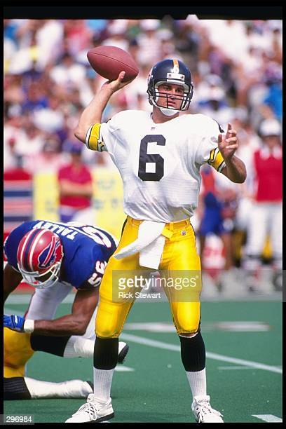 Quarterback Bubby Brister of the Pittsburgh Steelers looks to pass the ball during a game against the Buffalo Bills at Rich Stadium in Orchard Park,...