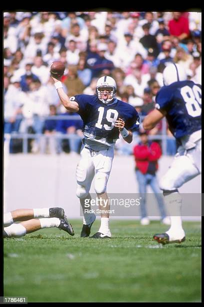 Quarterback Tony Sacca of the Penn State Nittany Lions passes the ball during a game against the Boston College Eagles at Beaver Stadium in...