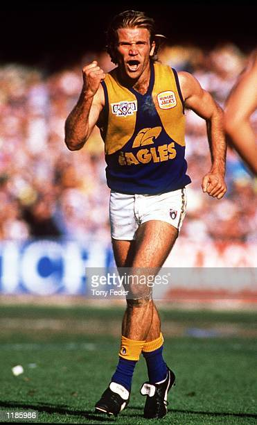 Chris Mainwaring of West Coast celebrates a goal in the AFL Grand Final match between the West Coast Eagles and the Geelong Cats, played at the...