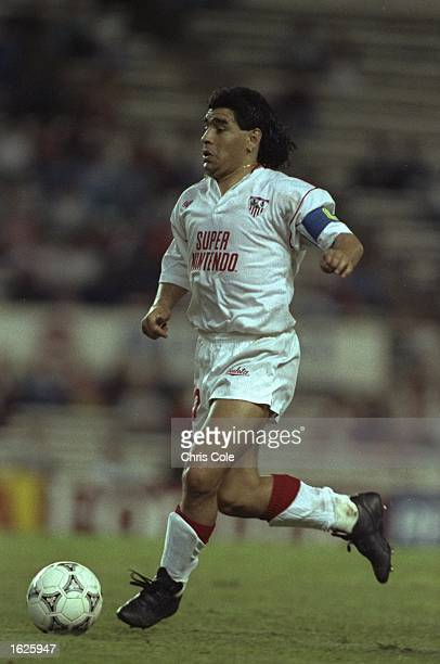 Diego Maradona of Seville in action against Bayern Munich Seville won the match 31 Mandatory Credit Chris Cole/Allsport