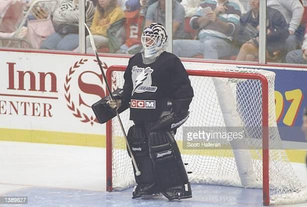 Goaltender Manon Rheaume of the Tampa Bay Lightning looks on during a game Mandatory Credit Scott Halleran /Allsport