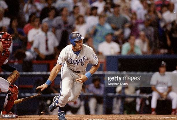 Infielder George Brett of the Kansas City Royals in action during a game against the California Angels at Anaheim Stadium in Anaheim California...