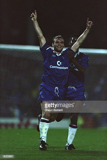 Robert Fleck of Chelsea celebrates his first goal for the club during an FA Carling Premier League match against Aston Villa at Villa Park in...