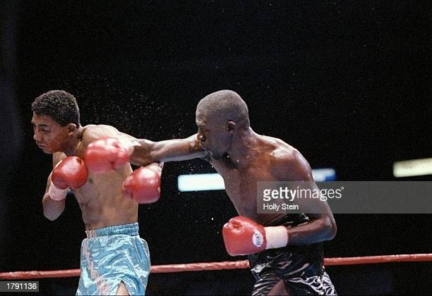 Roger Mayweather and Fidel Avendano trade blows during a bout Mandatory Credit Holly Stein /Allsport