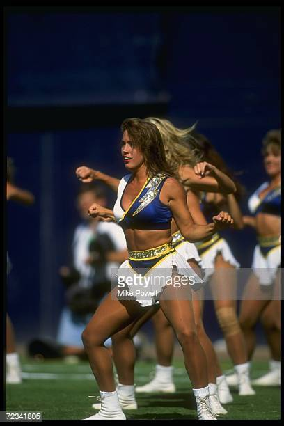 San Diego Chargers cheerleaders in action during a game against the Kansas City Chiefs at Jack Murphy Stadium in San Diego California The Chiefs won...