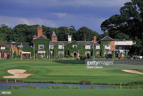 General view of par 4, 18th hole and clubhouse at the Brabazon Course at the Belfry, venue for the 1993 Ryder Cup, in Sutton Coldfield, England. \...