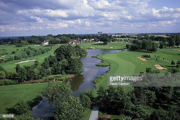 General view of par 4, 18th hole on the Brabazon Course at the Belfry, venue for the 1993 Ryder Cup, in Sutton Coldfield, England. \ Mandatory...