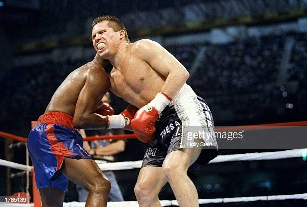 Julio Caesar Chavez takes a punch to the stomach from Pernell Whitaker in San Antonio Texas Chavez won the fight Mandatory Credit Holly Stein...