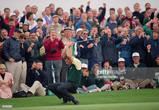 Nick Faldo of the European team chips in at the 14th during Day One of the Ryder Cup at the The Belfry in Sutton Coldfield England Mandatory Credit...