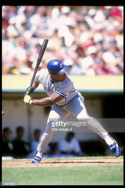 Outfielder Rickey Henderson of the Toronto Blue Jays stands in the batters box during a game against the Oakland Athletics at the Oakland Coliseum in...