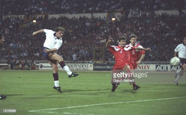 Paul Gascoigne scores England's second goal of the game during the group two world cup qualifiying match against Poland at Wembley Stadium in London...