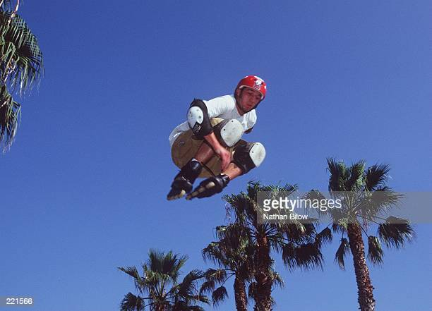 A competitor goes airborne during the World InLine Championships at Venice Beach in Venice California Mandatory Credit Nathan Bilow/Allsport