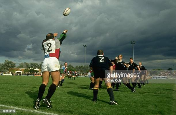 Brian Moore of the Harlequins feeds the ball in to a lineout during the match against Wasps in England Wasps won the match 5726 Mandatory Credit...