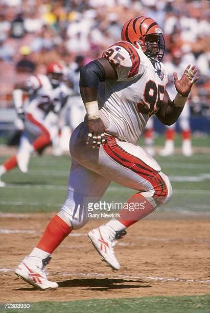 Defensive lineman Keith Rucker of the Cincinnati Bengals pursues the football during the Bengals 2710 loss to the San Diego Chargers at Jack Murphy...