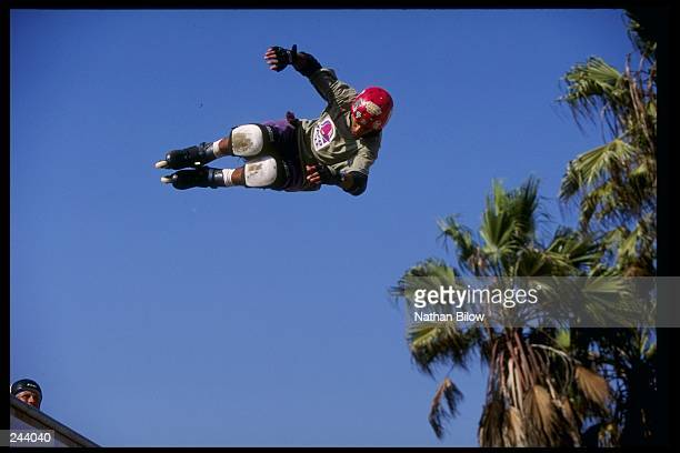 General view of a competitor in action during the World InLine Skate Championships in Venice California