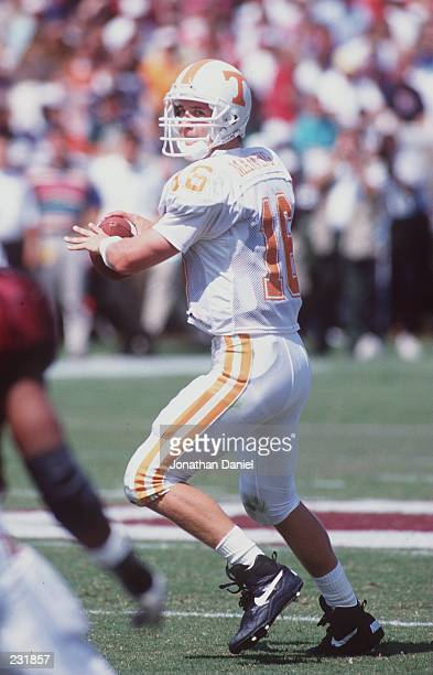 Quarterback Peyton Manning of the University of Tennessee sets to throw a pass during the Volunteers 2421 loss to Mississippi State Mandatory Credit...