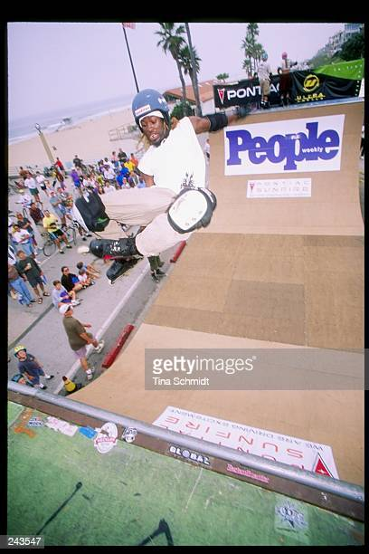 A skater does his routine during the People Magazine InLine Skate Spectacular in Manhattan Beach California