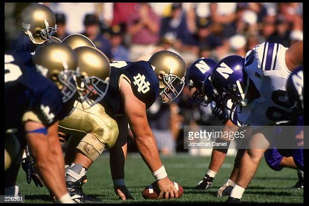 Center Dusty Zeigler of the University of Notre Dame sets to hike the football during the Fighting Irish 1715 loss to Northwestern University at...