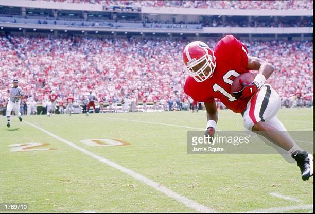 Hines Ward of the Georgia Bulldogs runs down the field during a game against the South Carolina Gamecocks at Sanford Stadium in Athens Georgia...